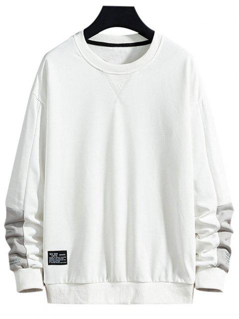 trendy Letter Text Print Applique Contrast Sweatshirt - WHITE S Mobile
