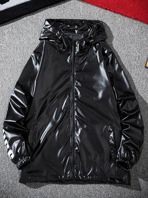 Veste à Capuche Lettre Imprimée Métallisée - Noir 3XL Mobile