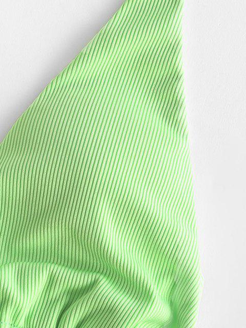 fancy ZAFUL Snake Flower Ribbed String Bikini Swimwear - GREEN S Mobile