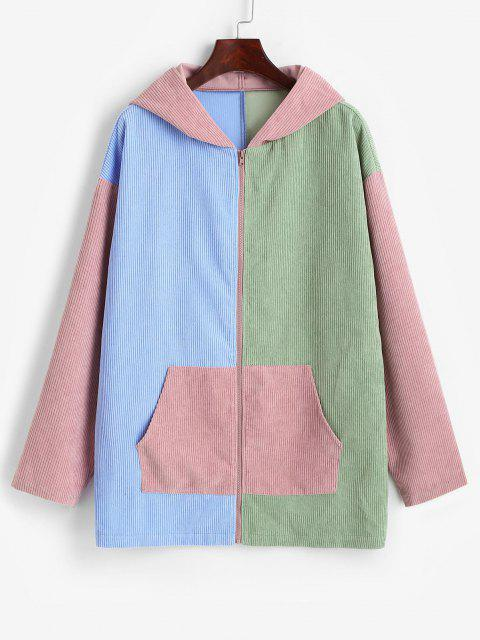 ZAFUL Hooded Corduroy Color Blocking Zip Pocket Coat - متعددة-A S Mobile