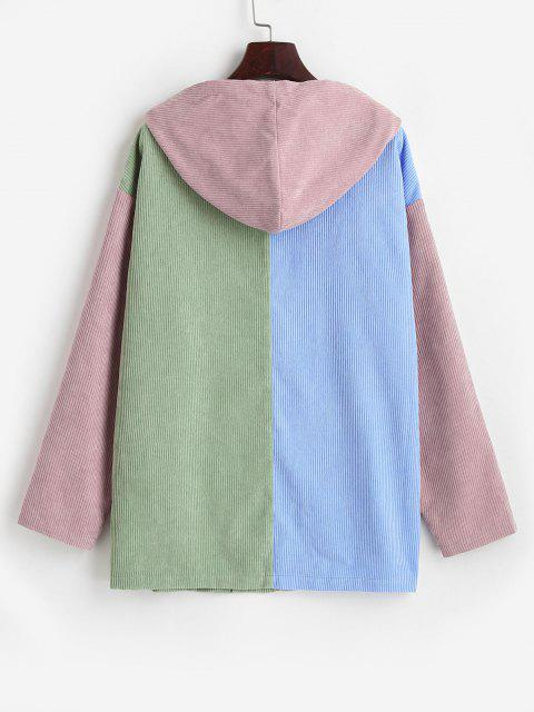 outfits ZAFUL Hooded Corduroy Color Blocking Zip Pocket Coat - MULTI-A M Mobile