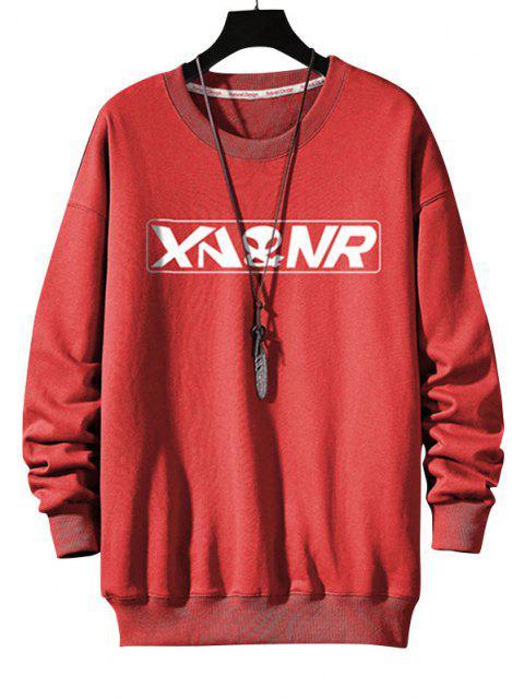 Buchstabe Grafik Druck Rippen Strick Trimm Sweatshirt - Lava Rot S Mobile