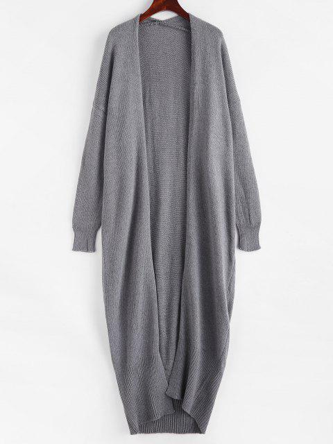 Open Front Drop Shoulder Long Cardigan - اللون الرمادي حجم واحد Mobile