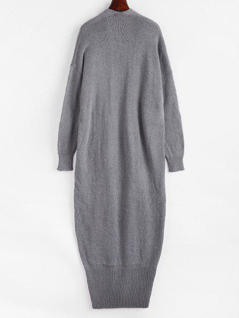 latest Open Front Drop Shoulder Long Cardigan - GRAY ONE SIZE Mobile