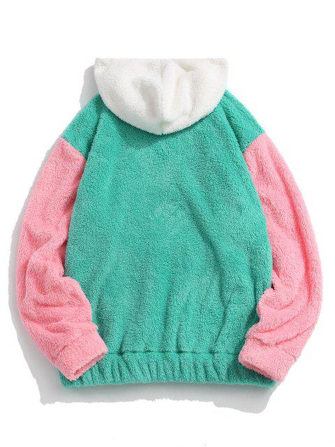 outfits Pullover Drawstring Colorblock Fluffy Hoodie - GREEN XL Mobile