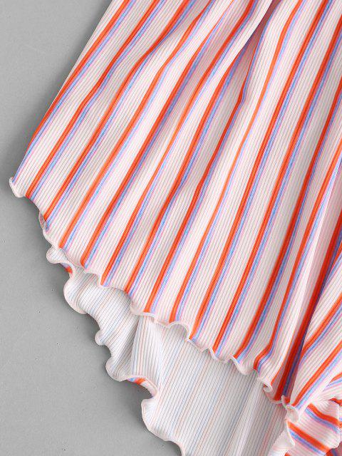 outfit ZAFUL Striped Ribbed Lettuce Cover-up Beach Shorts - MULTI L Mobile