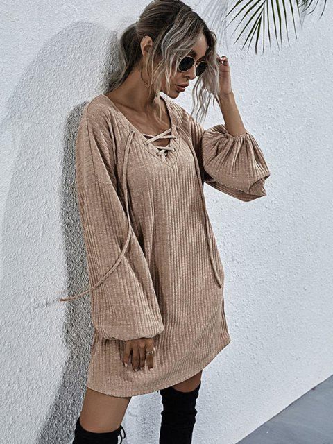 fashion Wide Ribbed Lace-up Lantern Sleeve Knit Dress - LIGHT COFFEE M Mobile