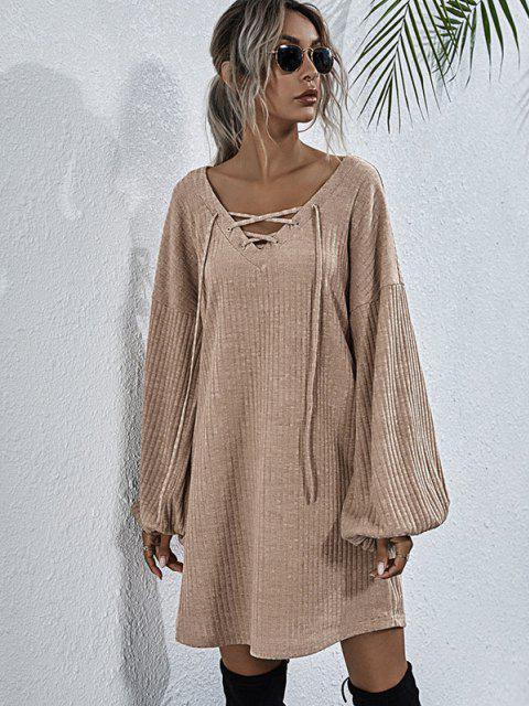 Wide Ribbed Lace-up Lantern Sleeve Knit Dress - القهوة الخفيفة M Mobile