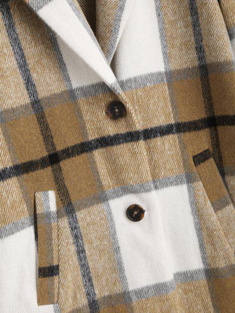 ZAFUL Karierter Tasche Revers Langline Mantel - Tan XL Mobile
