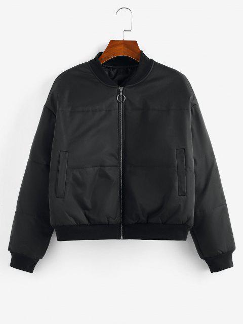 ZAFUL Quilted Drop Shoulder Zip Up Jacket - أسود L Mobile