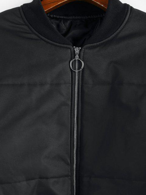 ZAFUL Gesteppte Hängender Schulter Jacke mit Reißverschluss - Schwarz M Mobile