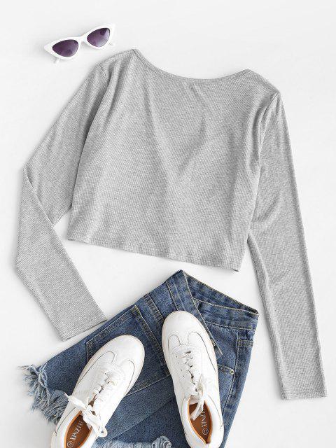 ZAFUL T-shirt com Nervuras 1 x T Shirt - Cinza claro S Mobile