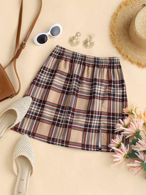 online Plaid Front Slit Mini Skirt - LIGHT COFFEE S Mobile
