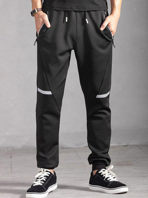 fashion Drawstring Zippered Pockets Jogger Pants - BLACK L Mobile
