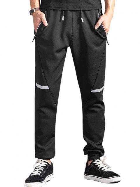 fashion Drawstring Zippered Pockets Jogger Pants - BLACK L Mobile