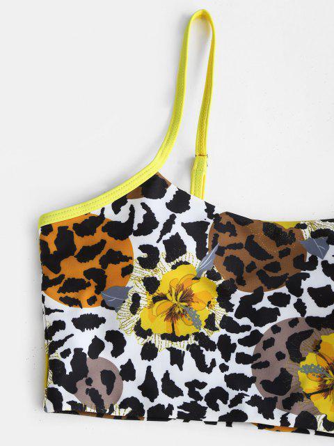 ZAFUL Gebundener Blumen Mix Kreuzer und Querer Tankini Badebekleidung - Gelb S Mobile