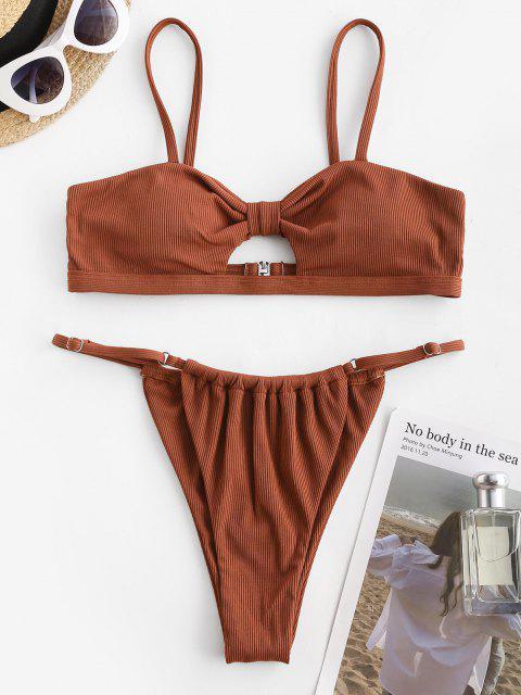 latest ZAFUL Ribbed Knotted Keyhole String Bikini Swimwear - COFFEE S Mobile