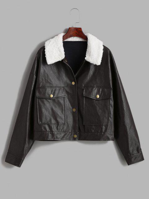 ZAFUL Borg Collar Drop Shoulder Pocket Faux Leather Jacket - اللون الأحمر الداكن L Mobile
