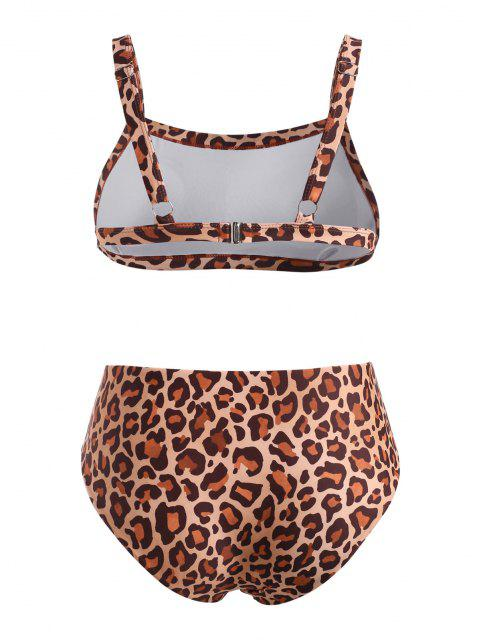 lady ZAFUL Animal Leopard Plus Size Tank Bikini Swimwear - COFFEE XXL Mobile