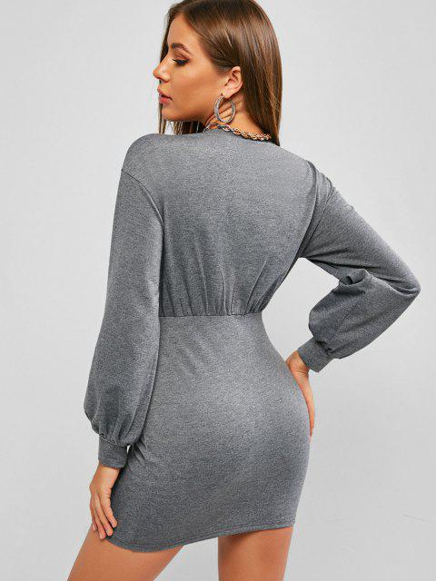 lady ZAFUL Underbust Bodycon Mini Dress - GRAY GOOSE S Mobile