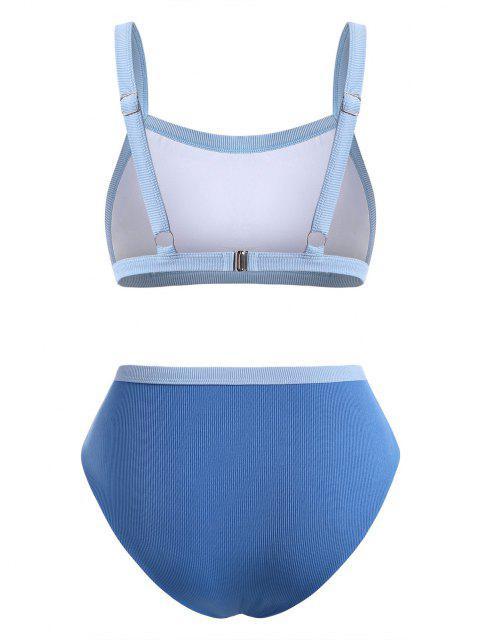 ZAFUL Maillot de Bain Bikini Côtelé Contrasté de Grande Taille - Bleu clair XXL Mobile