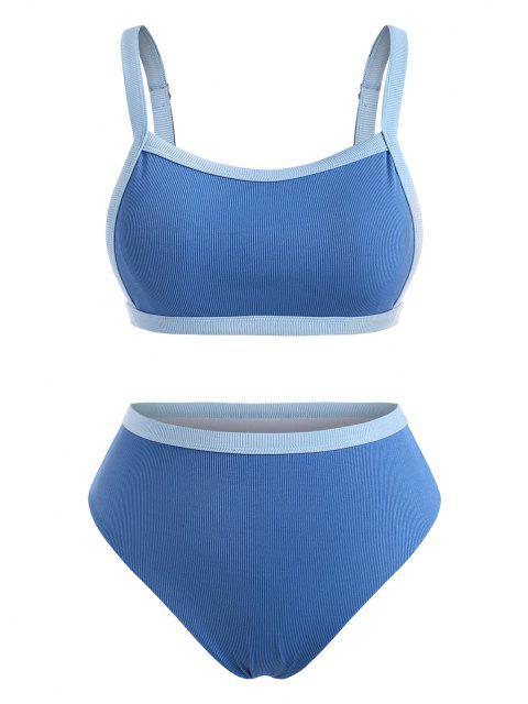 ZAFUL Maillot de Bain Bikini Côtelé Contrasté de Grande Taille - Bleu clair XXXXL Mobile