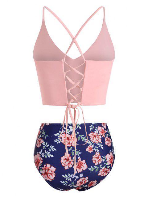 latest ZAFUL Plus Size Crisscross Lace-up Back Floral Tankini Swimwear - LIGHT PINK XXL Mobile
