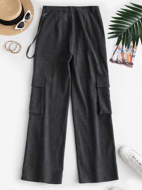 Pantaloni Larghi di ZAFUL a Vita Alta con Tasche - Nero M Mobile