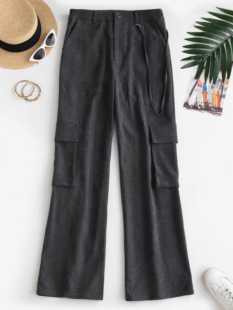 online ZAFUL Pockets High Rise Wide Leg Pants - BLACK L Mobile