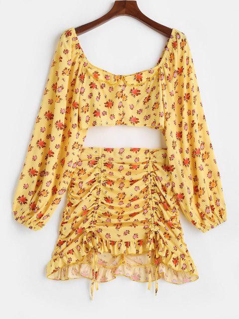 lady Floral Zip Ruched Cinched Two Piece Skirt Set - YELLOW S Mobile