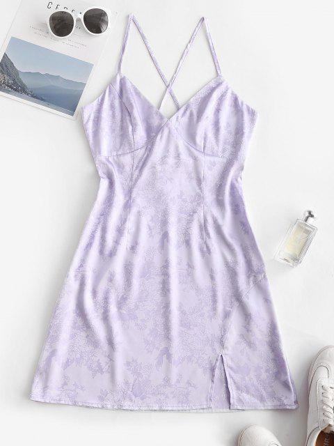 ZAFUL Kreuzes und Queres Tiefes Jacquard Kleid - Lavendel Blau L Mobile