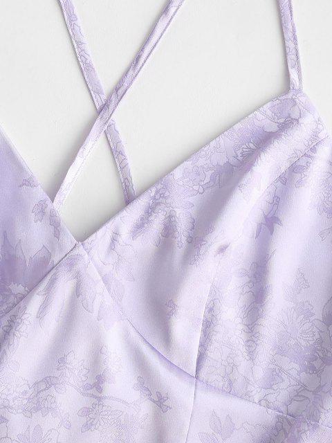 zaful crisscross plunge 자카드 슬릿 드레스 - 라벤더 블루 엘 Mobile
