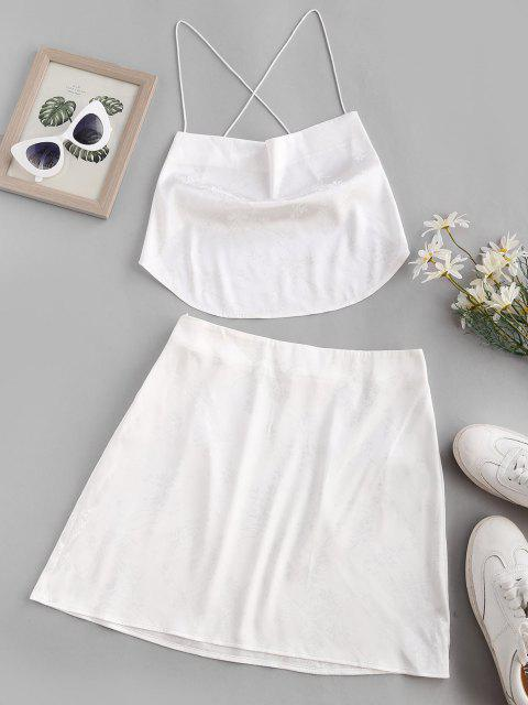 best ZAFUL Jacquard Crisscross Scarf Top and Skirt Two Piece Set - WHITE M Mobile