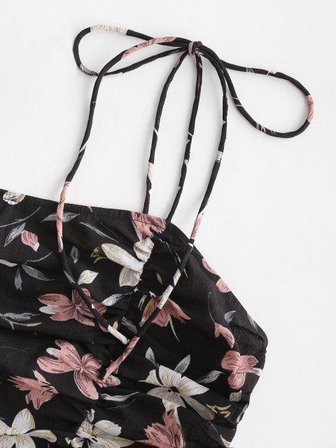 outfits ZAFUL Tie Shoulder Ruched Floral Print Crop Top - BLACK L Mobile