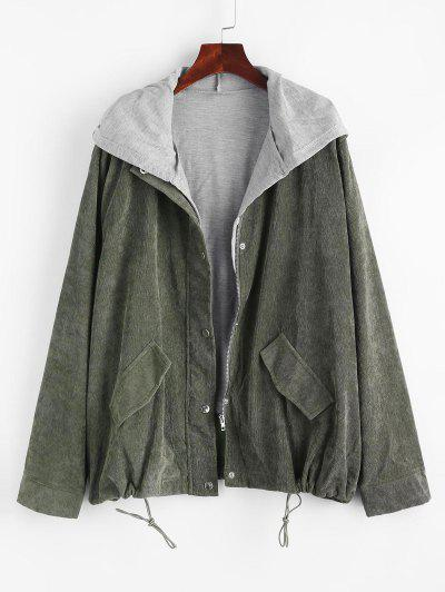 Vest Zip Up Corduroy Combo Jacket - Green