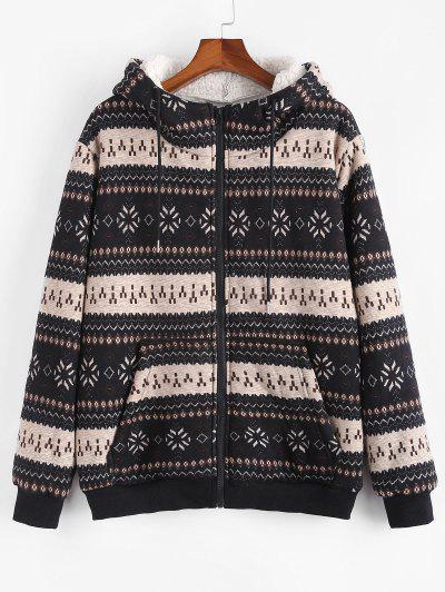 ZAFUL Christmas Snowflake Print Hooded Faux Shearling Jacket - Black L