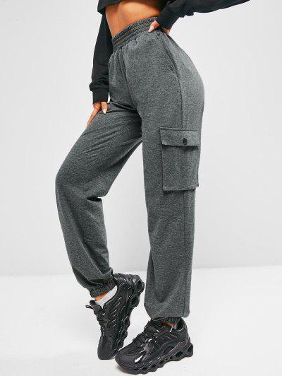 ZAFUL Pantalon Chiné à Taille Haute Avec Poche - Gris Carbone S