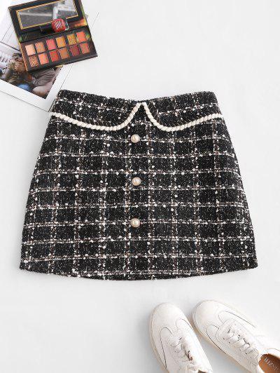 Plaid Faux Pearl Button Tweed Skirt - Black L