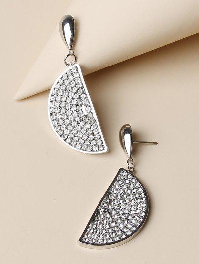 Semicircle Micro Pave Rhinestone Earrings - Silver