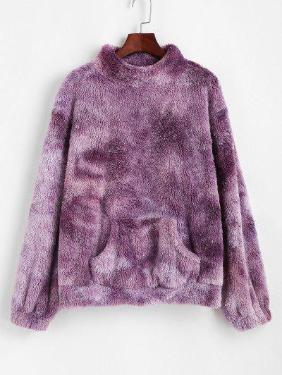 ZAFUL Front Pocket Fluffy Tie Dye Sweatshirt - Purple M