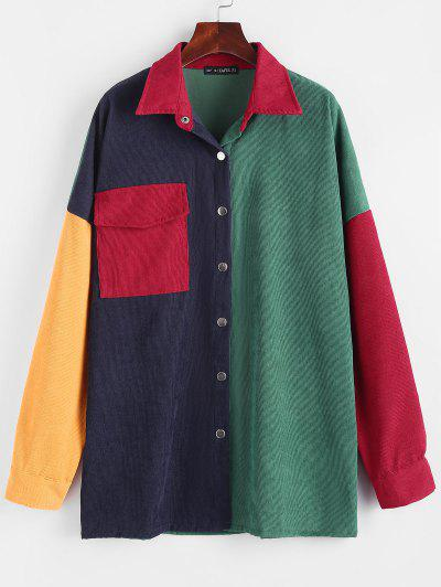 Flap Pocket Corduroy Colorblock Shirt - Deep Green S