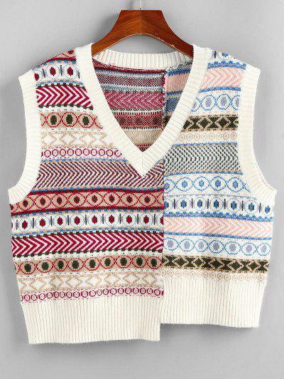 ZAFUL Geo Asymmetrical Patchwork Southwestern Sweater Vest - Multi M