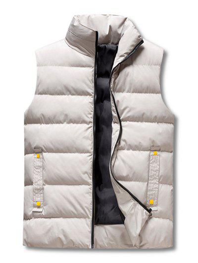 Zip Up Padded Vest - Light Gray 2xl