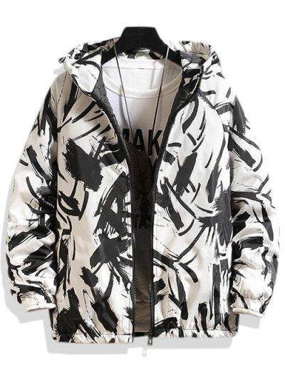 Hooded Scrawl Print Padded Jacket - White S