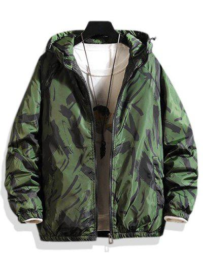Hooded Scrawl Print Padded Jacket - Green M