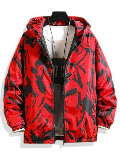 Hooded Scrawl Print Padded Jacket - Lava Red L