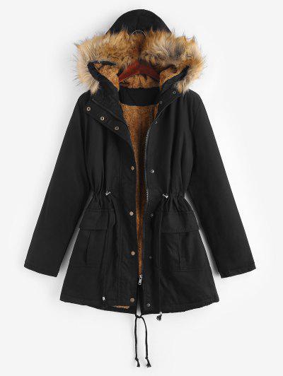 Faux Fur Fluffy Lined Drawstring Hooded Parka Coat - Black M