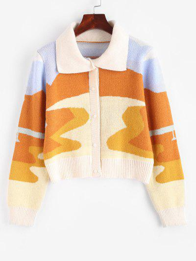 Ribbed Trim Button Up Oil Painting Cardigan - Light Coffee