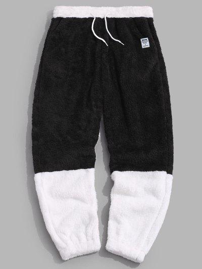 ZAFUL Letter Applique Contrast Faux Fur Fluffy Pants - Black M