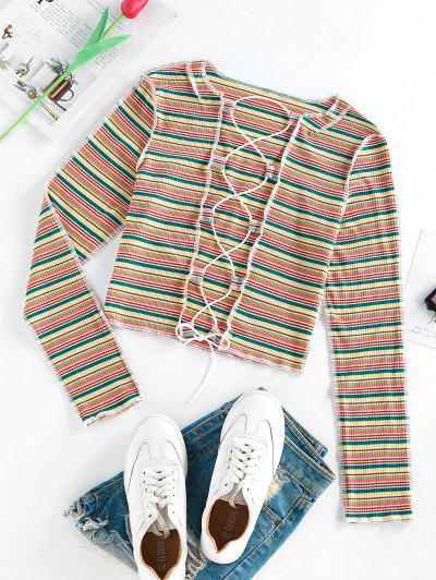 ZAFUL Colorful Striped Ribbed Lace Up Exposed Seams T Shirt - Multi L